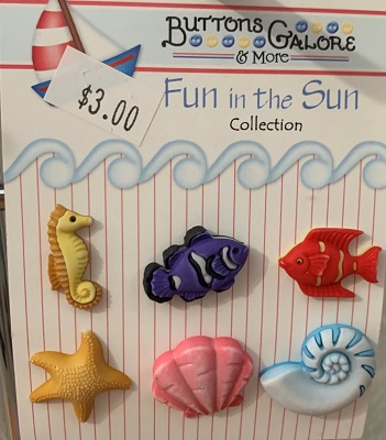 Sea Shells & Fishes Buttons Galore