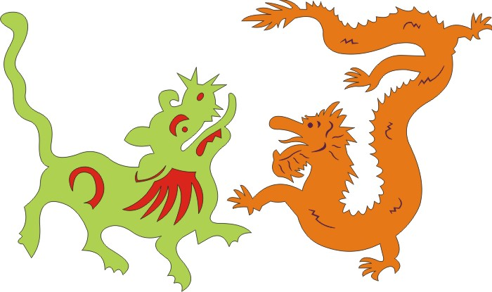 Chinese Dragons,Set of 2